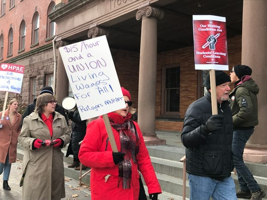 Rutgers union members picketed before a Board of Governors meeting on Dec. 6, 2018. The members had been working without a contract since June 30 and demanded fair contract negotiations. A new contract was ironed out in the spring of 2019.