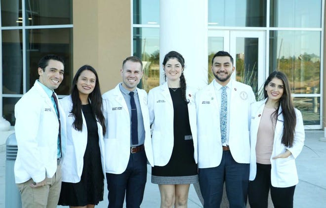 The team of Burrell College of Osteopathic Medicine second-year medical students who contributed to a resolution on increased nutritional education are, from left: Shaun Antonio, Elaine Uchuya, Zachary Coffman, Giselle Irio, Mario Soliman and Melissa Sayegh.