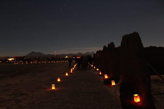 """Little laterns"" light up Fort Selden on Las Noches de Las Luminarias."