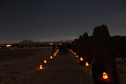 """Little laterns"" light up Fort Selden on Las Noches de Las Luminarias."