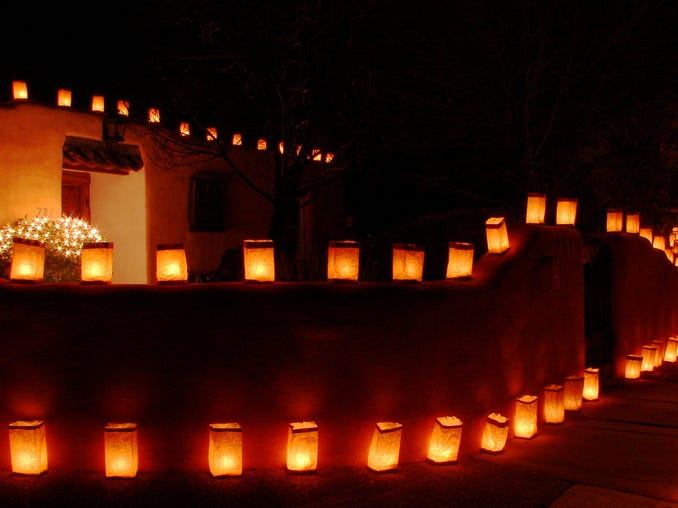 Luminarias (or farolitos?) — light up holiday season in New Mexico