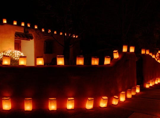 Luminarias — or farolitos as they're called in Santa Fe — are a Christmas Eve tradition in New Mexico.