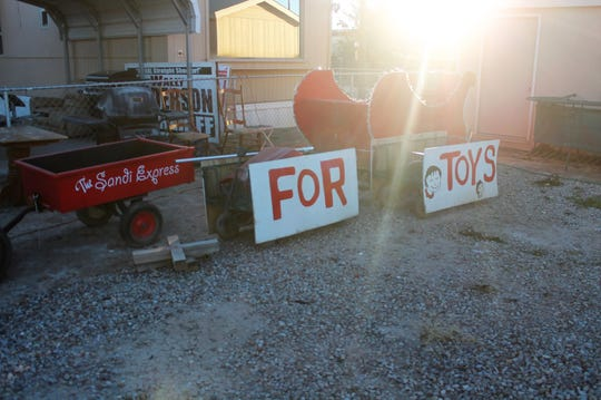 The Toys for Tots Sandi Express is getting a makeover for this Saturday's Parade of Lights. This is what it looked like in November.