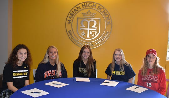 Marian seniors (left to right) Neve Badalow, Jansen Eichenlaub, Katie Sullivan, Mallory Lynch and Claire Stechow recently announced their college intentions.