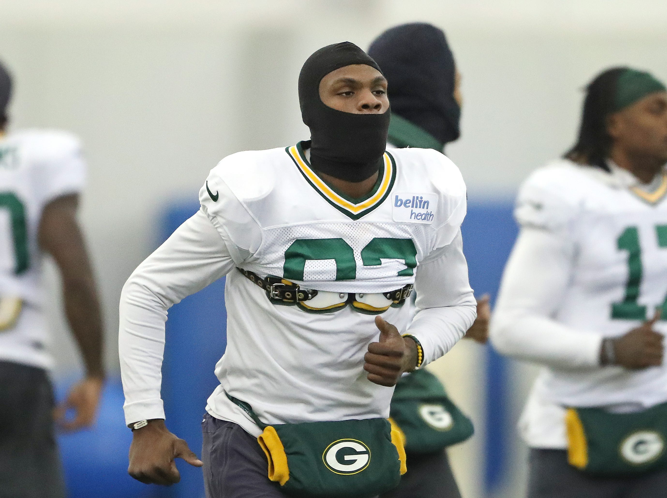 Green Bay Packers wide receiver Marquez Valdes-Scantling (83) keeps the warm headgear going even inside during practice Thursday, December 6, 2018 inside the Don Hutson Center in Ashwaubenon, WIs.