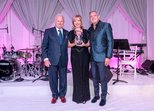 From left: Steve Maloney, Dr. Jeralyn Brossfield, Patrick Mundt after Partners in Passion Award presentation to Israel Cancer Research Fund