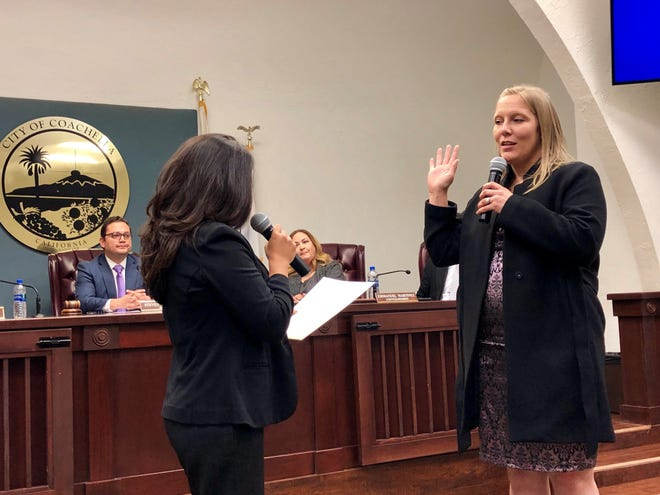 Incoming Coachella City Council member Megan Beaman-Jacinto takes the oath of office on Wednesday at Coachella City Hall.