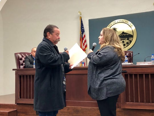 Incoming Coachella City Council member Josie Gonzalez takes the oath of office on Wednesday at Coachella City Hall.