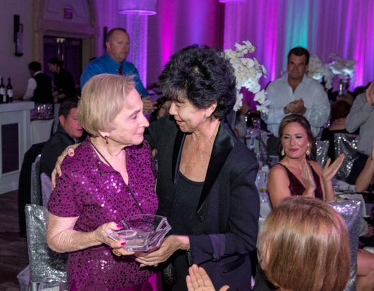 Gilda's Club Founder Paula Berke (left) receives special award and hug from CancerPartners President/CEO Maria Elena Geyer