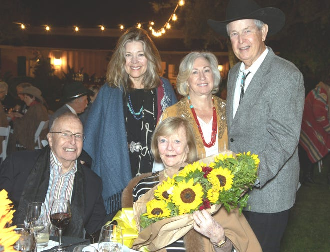 left to right Melissa Montgomery-Lynch, GMA recipients Maureen and Philip Ramer, (seated) Mary Cone's guest Edward Dietrich, and GMA recipient Mary Cone