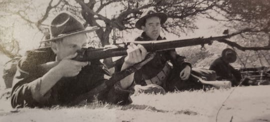 Sgt. Ray Bowman at target practice during WWII.