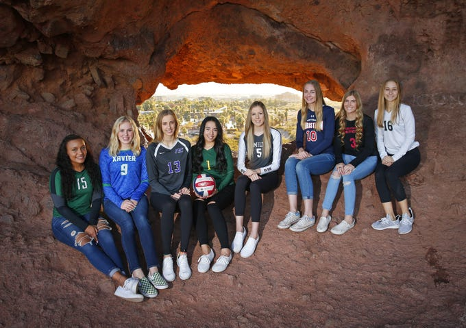 (from left) Jazmyn Wheeler of Sunnyslope, Shannon Shields of Xavier, Reagan Hope of Northwest Christian, Kamaile Hiapo of Skyline, Taylor Jacobsen of Hamilton, Lauren Ohlinger of Scottsdale Christian, Mykenna Nelson of Greenway and Nicole Hoff of Millennium are finalists for the azcentral Sports Awards Girls High School Volleyball of the Year. #azcsportsawards