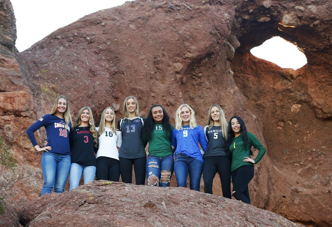(from left) Lauren Ohlinger of Scottsdale Christian, Mykenna Nelson of Greenway, Nicole Hoff of Millennium, Reagan Hope of Northwest Christian, Jazmyn Wheeler of Sunnyslope, Shannon Shields of Xavier, Taylor Jacobsen of Hamilton and Kamaile Hiapo of Skyline are finalists for the azcentral Sports Awards Girls High School Volleyball of the Year. #azcsportsawards