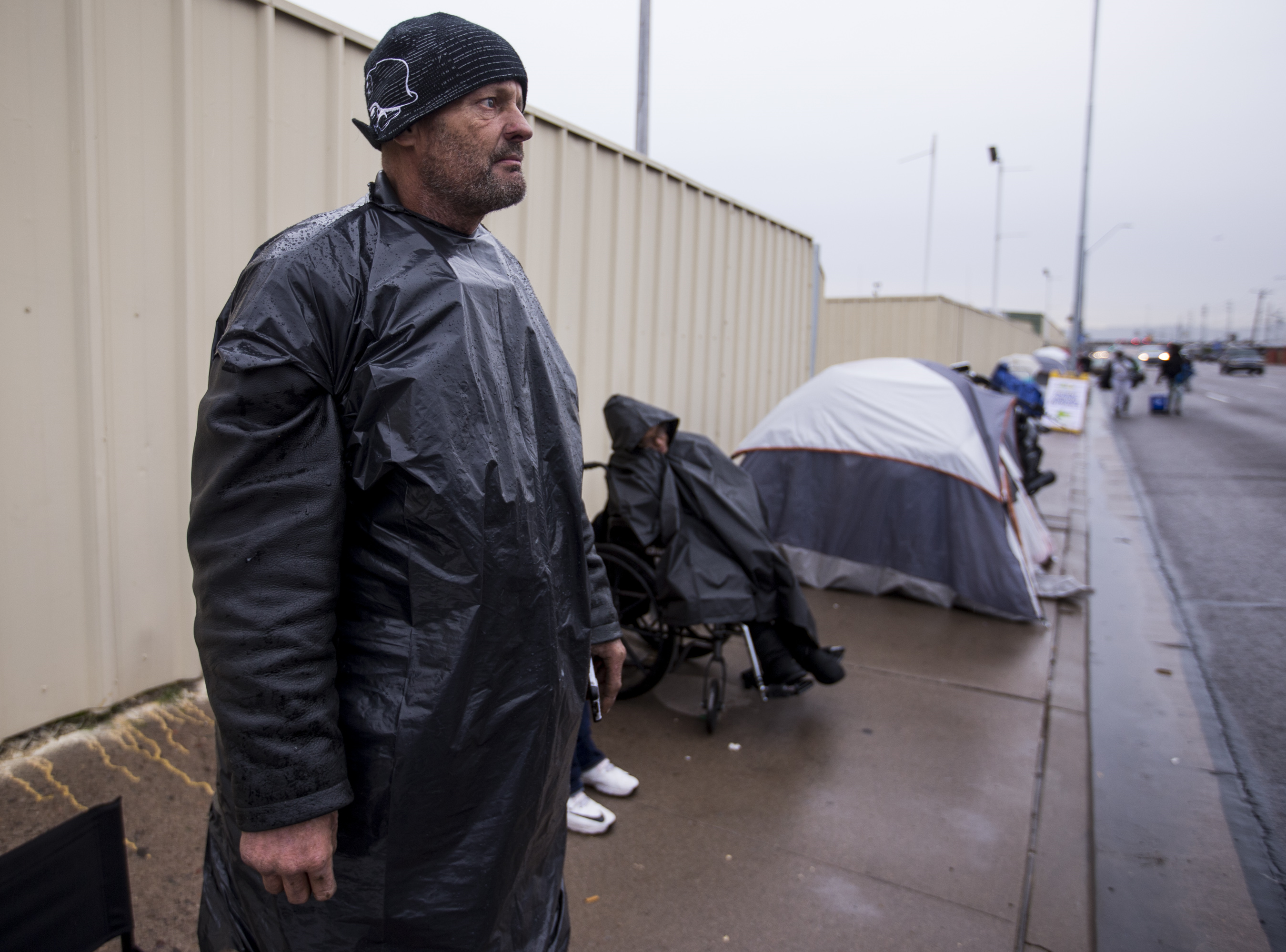 John Quick, 51, waits in line to get free dental work on Dec. 5, 2018, in Phoenix.