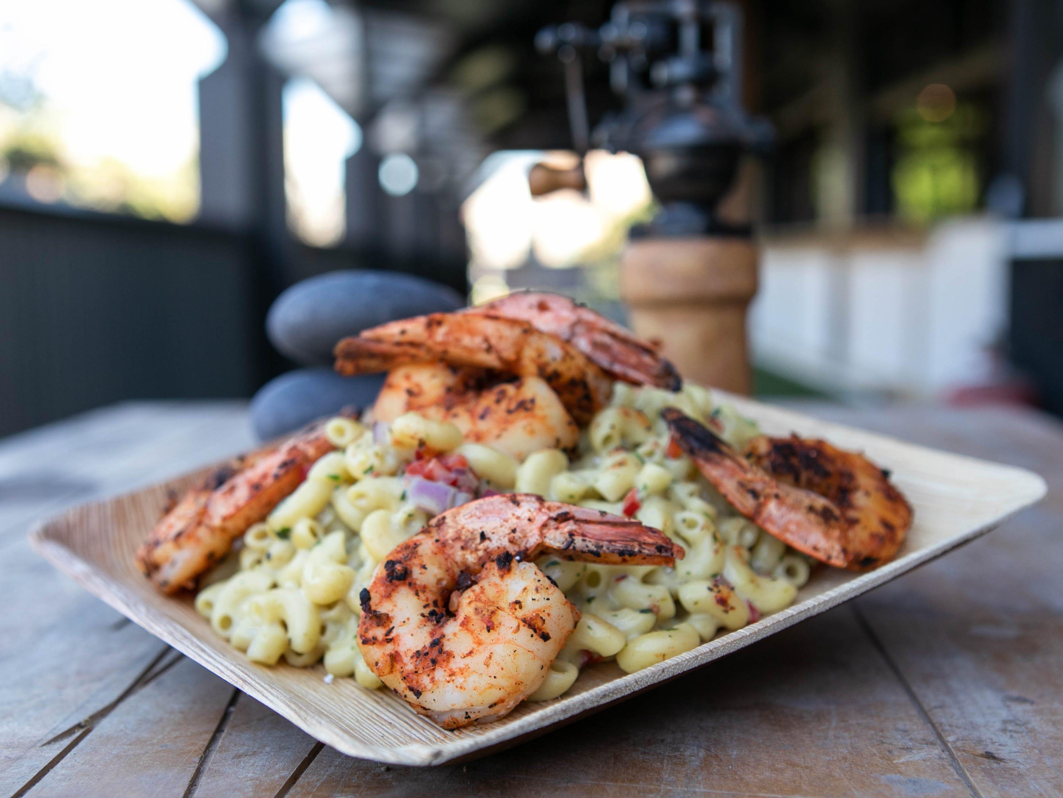 Blackened shrimp green chile macaroni at Varsity Tavern on Mill Avenue.