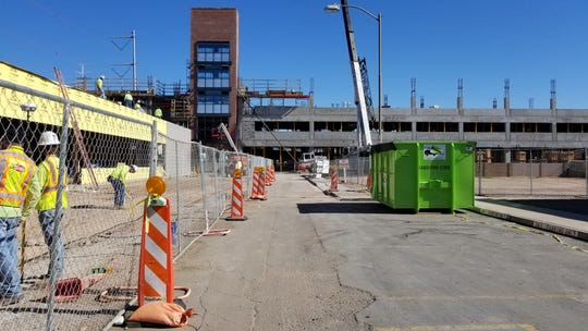 Construction is underway on a new parking garage in downtown Gilbert on BriComp Boulevard and Vaughn Avenue.