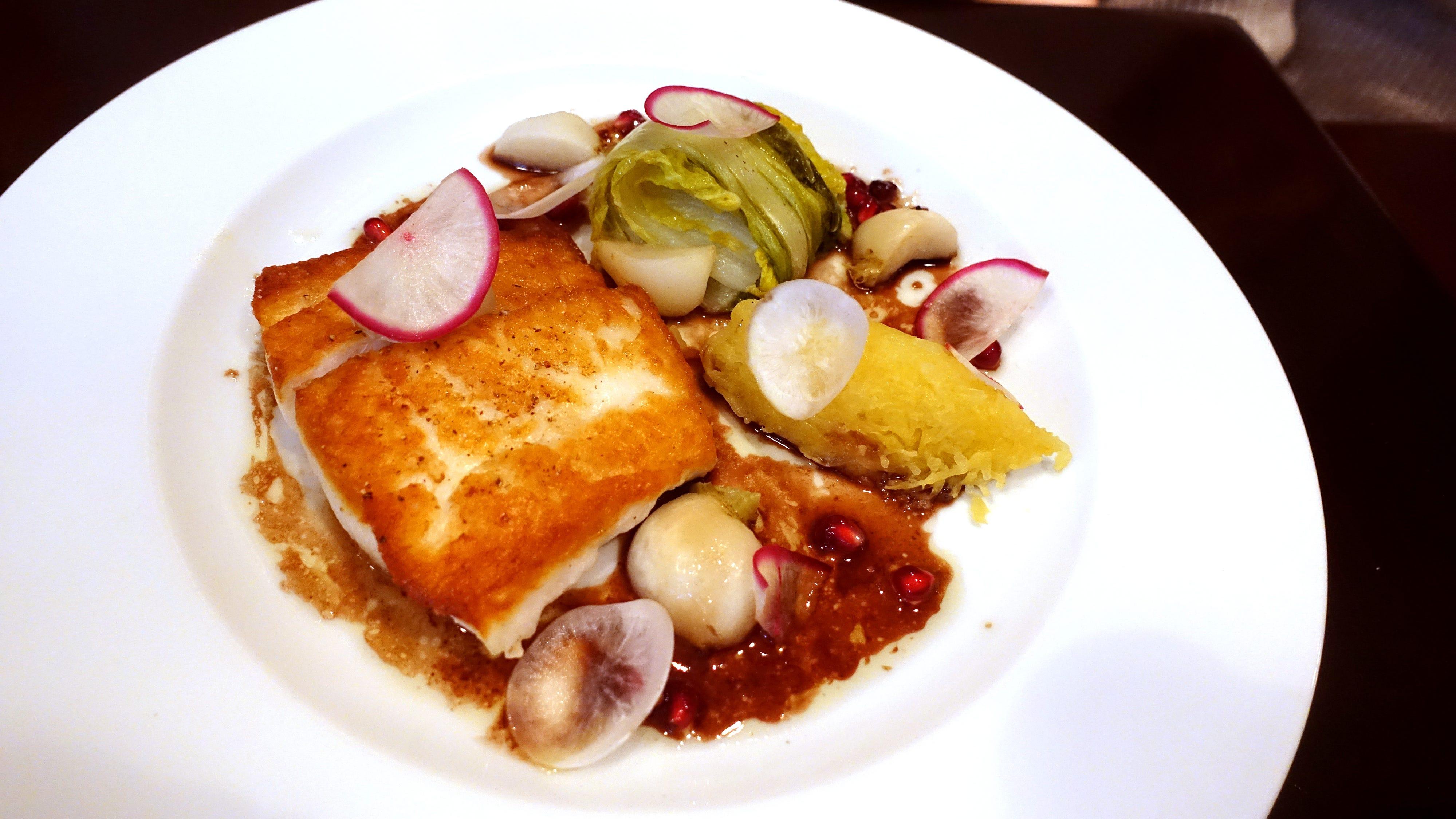 Fluke with turnip, napa cabbage, spaghetti squash and pomegranate at Confluence in Carefree, AZ.