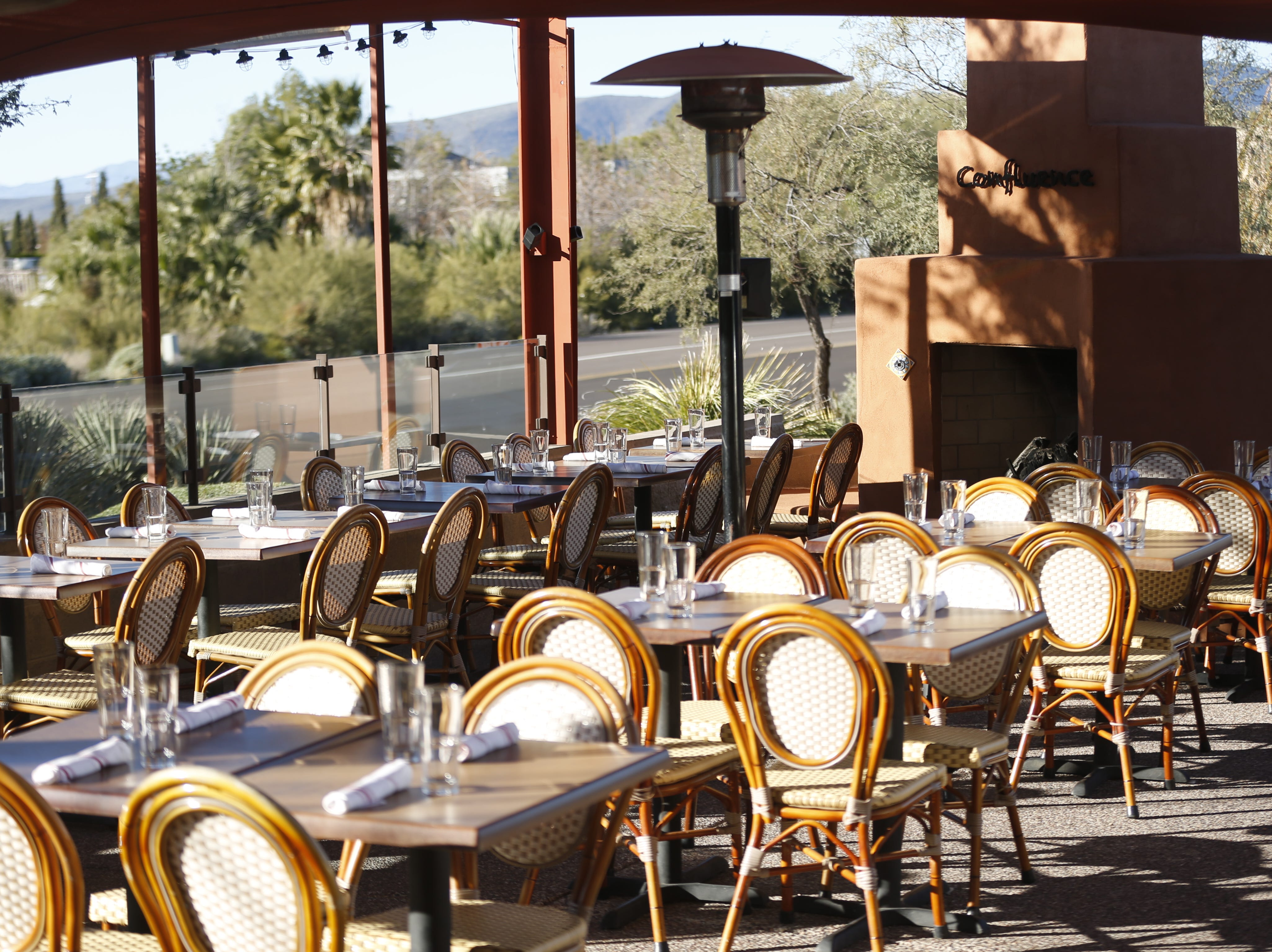 The outdoor seating area at Confluence in Carefree, Ariz. on December 3, 2018.