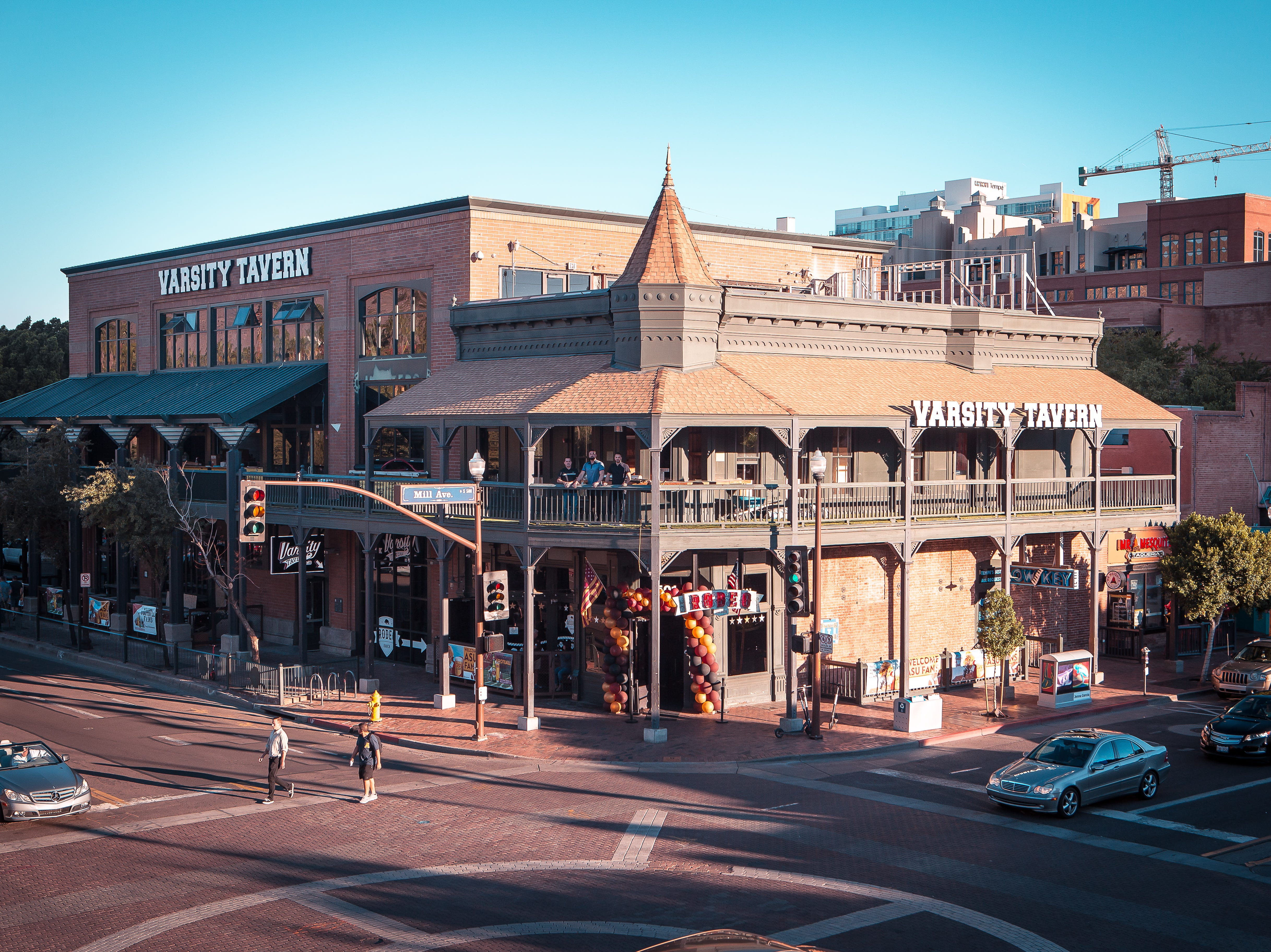 Varsity Tavern is located on the southeast corner of 5th Street and Mill Avenue in downtown Tempe.