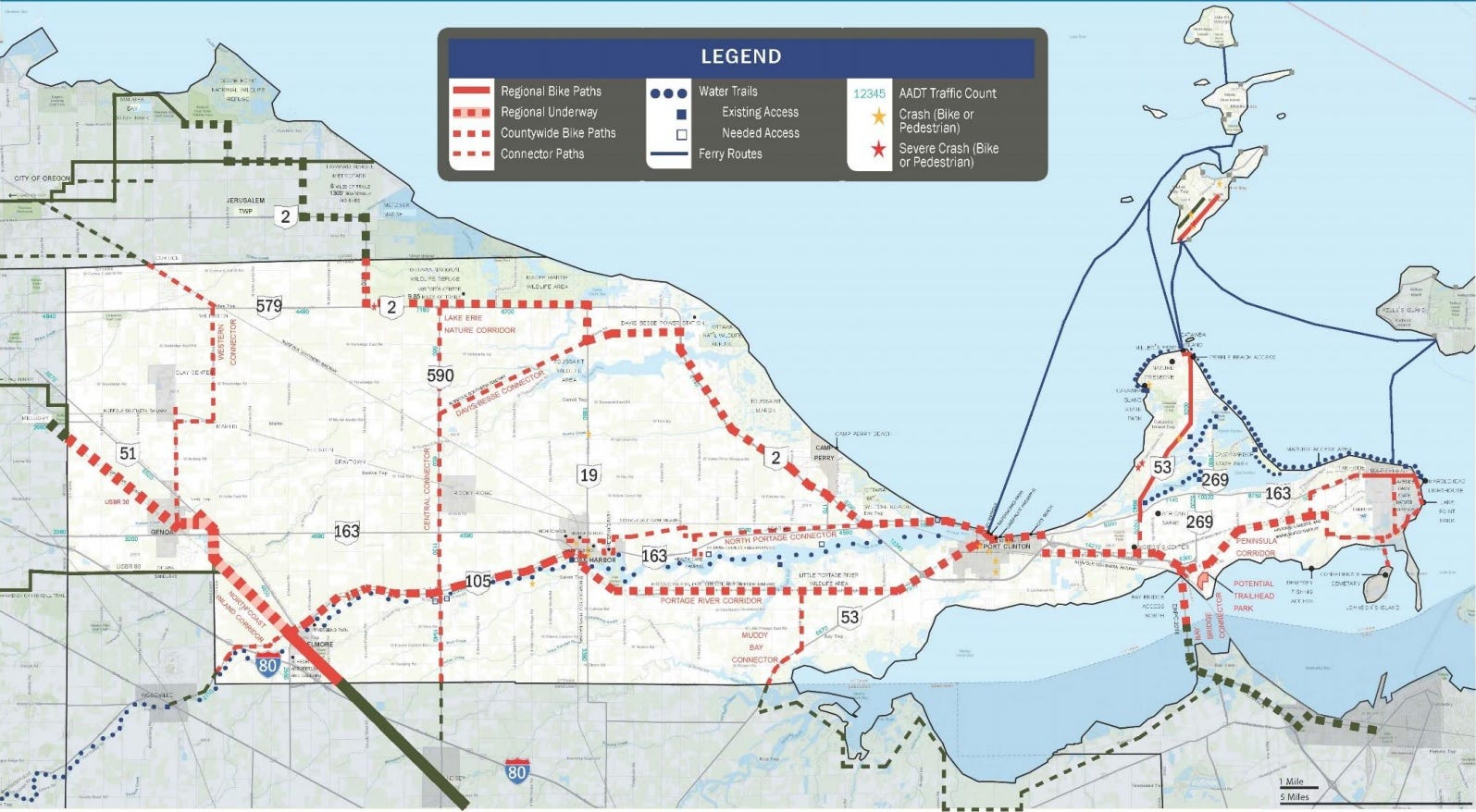 This map from the Ottawa County Active Transportation Plan shows in red where connections could be made for the proposed bike trail.