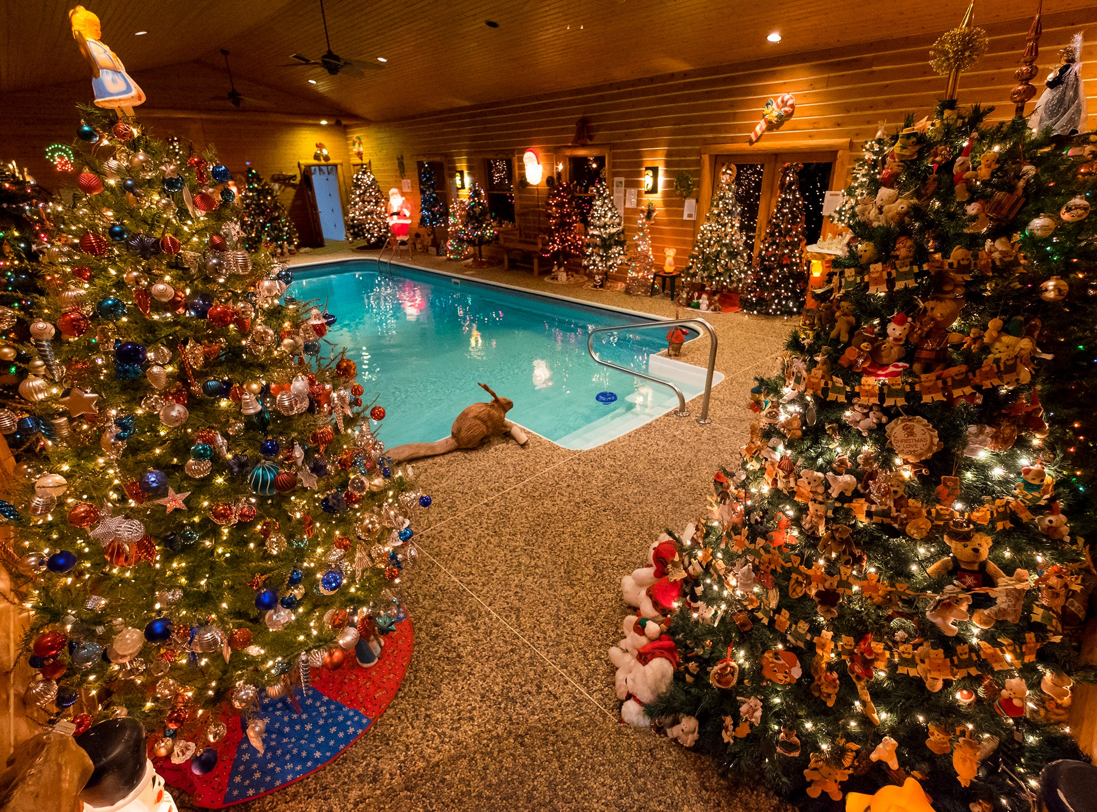 Different themed Christmas trees are arranged around the pool in Al and Diane Kodet's home for the annual History of the Christmas Tree Walk in Algonac.