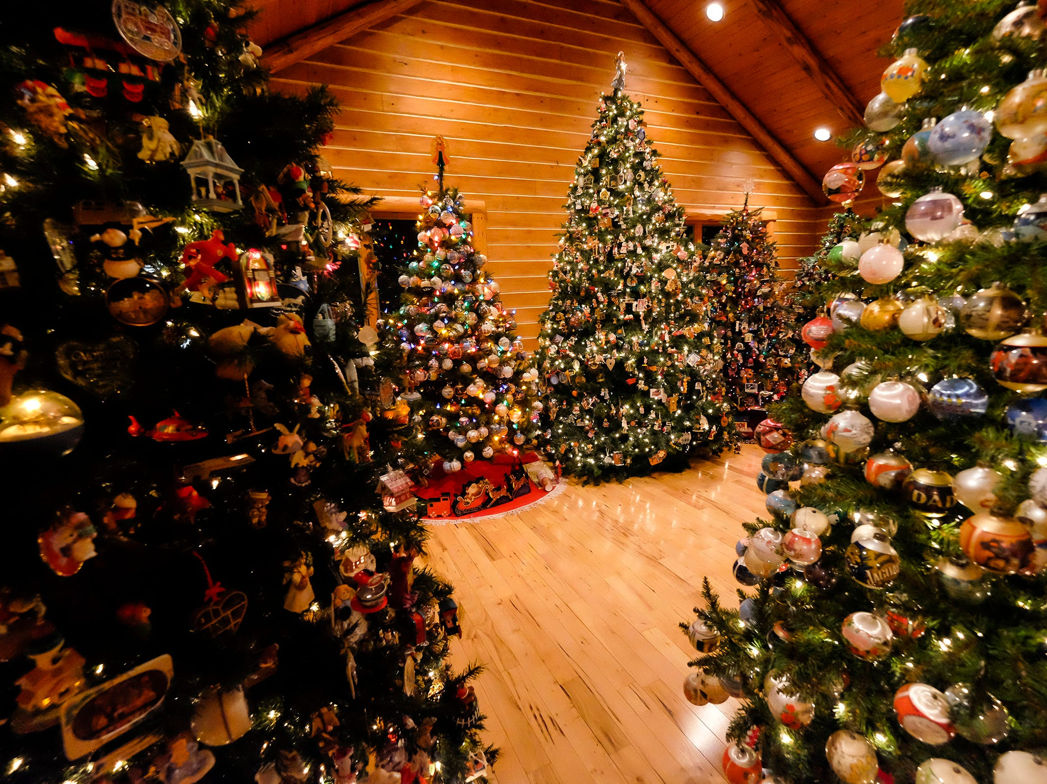 Christmas trees decorated with different themes are arranged in a third-floor room for the annual History of the Christmas Tree Walk at Al and Diane Kodet's home in Algonac.