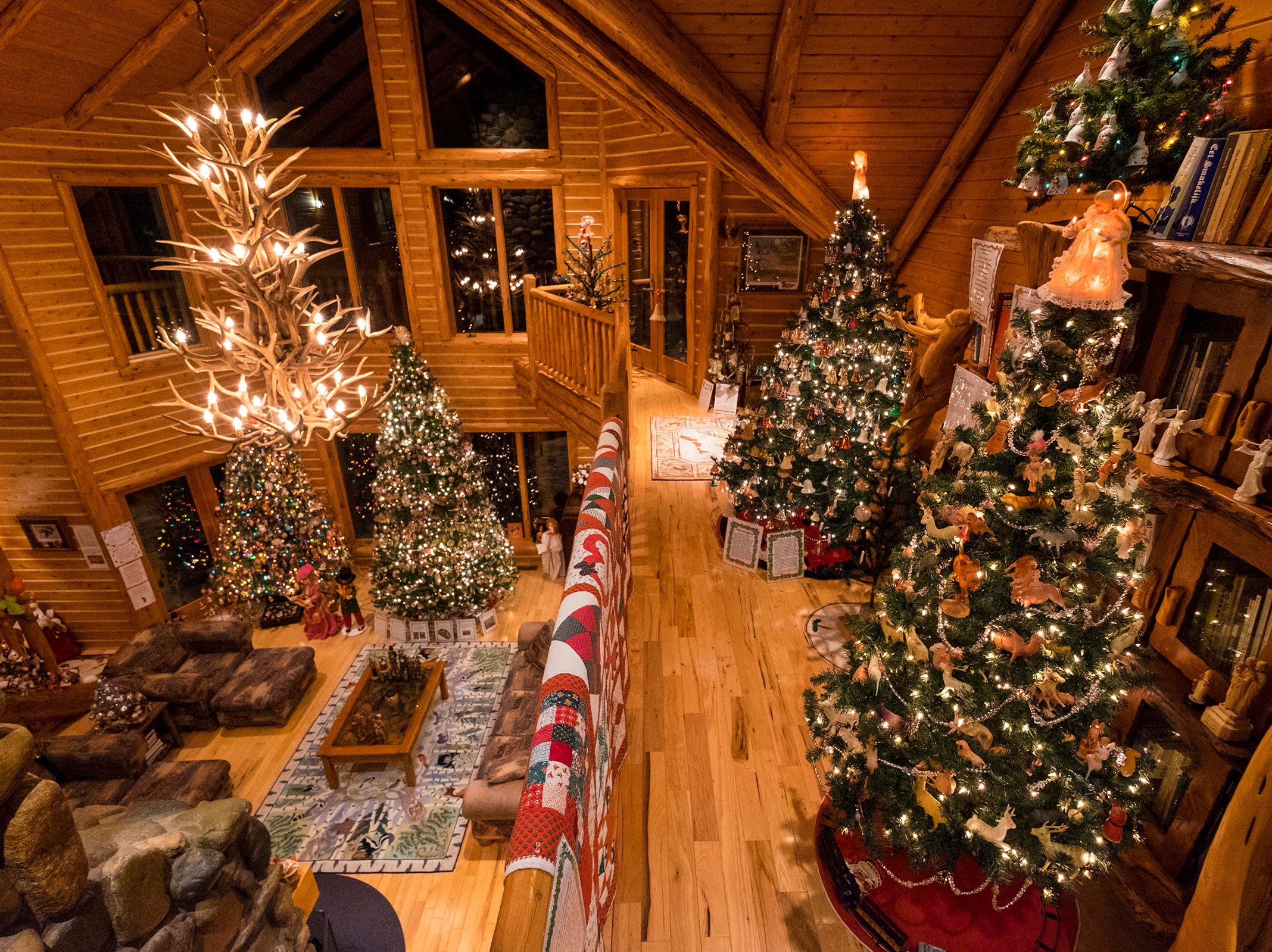 Christmas trees are arranged on different floors of Al and Diane Kodet's Algonac home for the annual History of the Christmas Tree Walk. The event fills their three-story home with more than 200 Christmas trees, and runs until several days after Christmas.