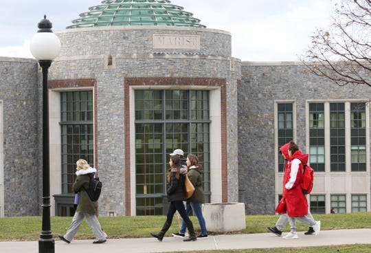Students walk to class at Marist College in the Town of Poughkeepsie on December 6, 2018.
