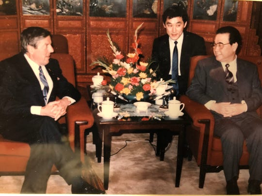 Dick Lesher, president of the U.S. Chamber of Commerce, meets with Li Peng, premier of the People's Republic of  China, in 1989, the first year of George H.W. Bush's presidency.