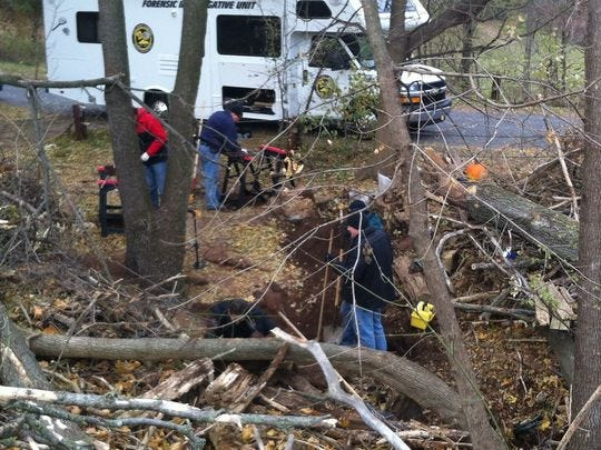 The York County Forensics Team did a second investigation at the site where skeletal remains were found in November 2013. West Manchester Twp. Police said it's not uncommon for investigators to return to a scene to do a second search for evidence. (Liz Evans Scolforo photo)