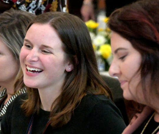 "Edgar Fahs Smith STEAM Academy teachers Lindsay Kaltreider, left, and Kara Snyder chat during an awards ceremony for city teachers at the York City School District Administration Building Thursday, Dec. 6, 2018. According to the Pennsylvania Value Added Assessment, York City students throughout the district exceeded the standard for PA Academic Growth. ""Shining Star"" teachers were recognized during the event. Bill Kalina photo"