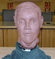 A Penn State University forensic artist created this clay reconstruction of what a West Manchester Twp. homicide victim might have looked like. She used a 3D-printed model of an unidentified homicide victim's skull as the base, she said. Police said a skeleton found along Loucks Road in November 2013 was the victim of homicide, but police haven't been able to identify him.