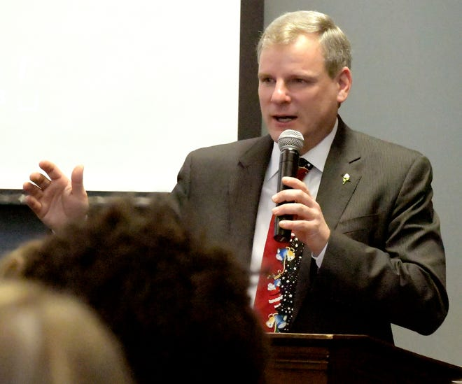 """York City Mayor Michael Helfrich speaks during an awards ceremony for city teachers at the York City School District Administration Building Thursday, Dec. 6, 2018. According to the Pennsylvania Value Added Assessment, York City students throughout the district exceeded the standard for PA Academic Growth. """"Shining Star"""" teachers were recognized during the event. Bill Kalina photo"""