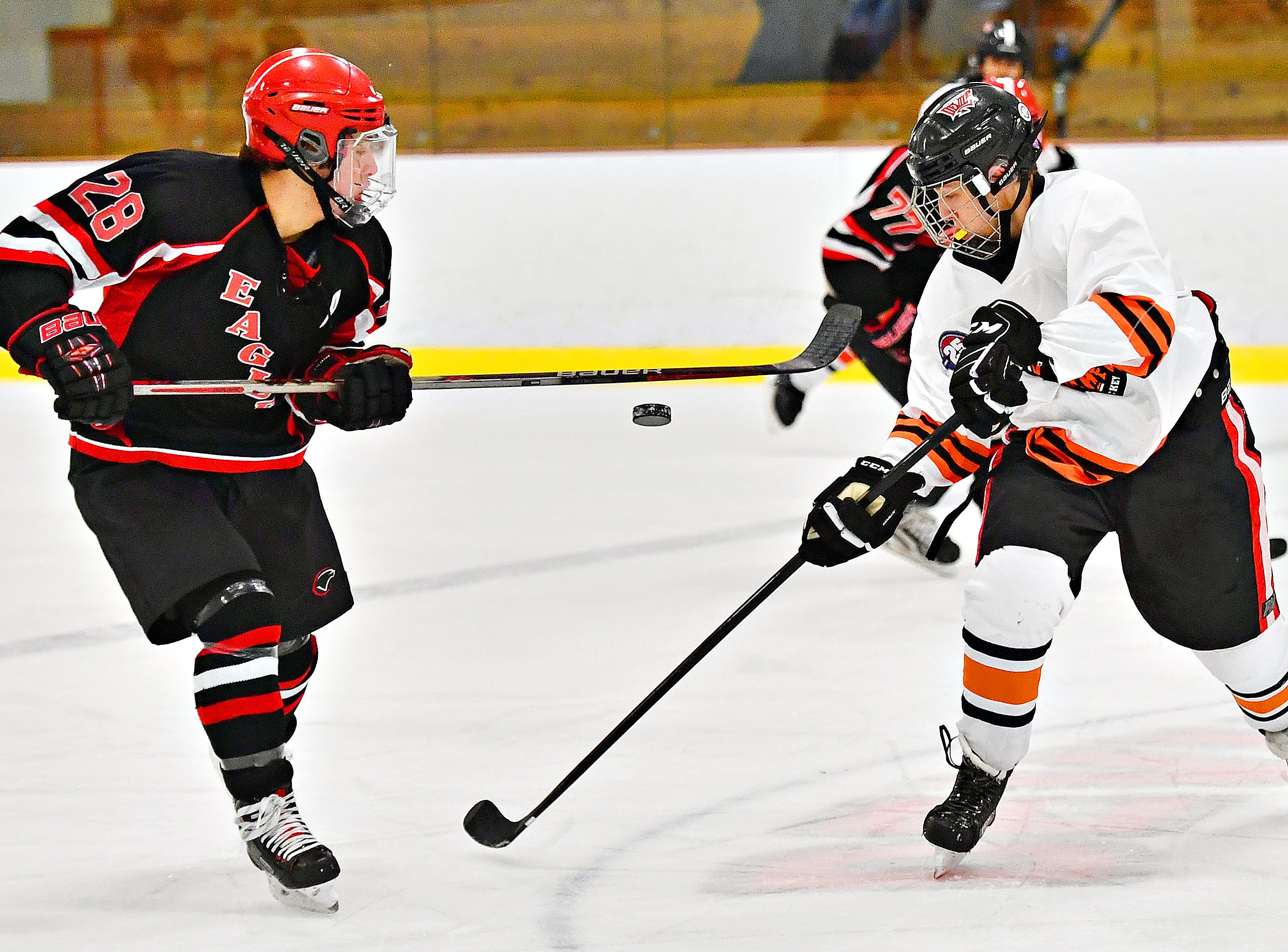 Central York vs Cumberland Valley during ice hockey action at York Ice Arena in York City, Wednesday, Dec. 5, 2018. Dawn J. Sagert photo