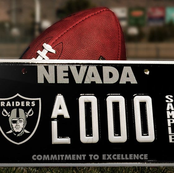 NFL: You can buy Las Vegas Raiders license plates next month