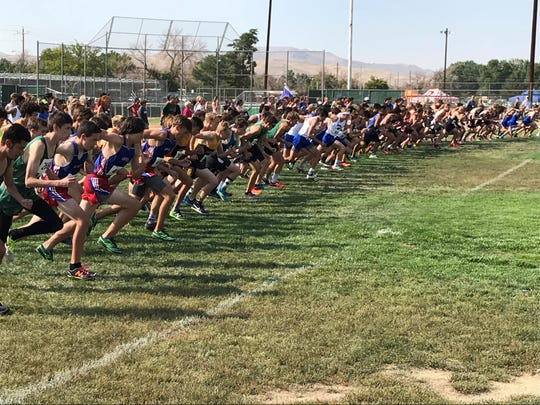 The start of the boys cross-country race earlier this season at Shadow Mountain in Sparks.