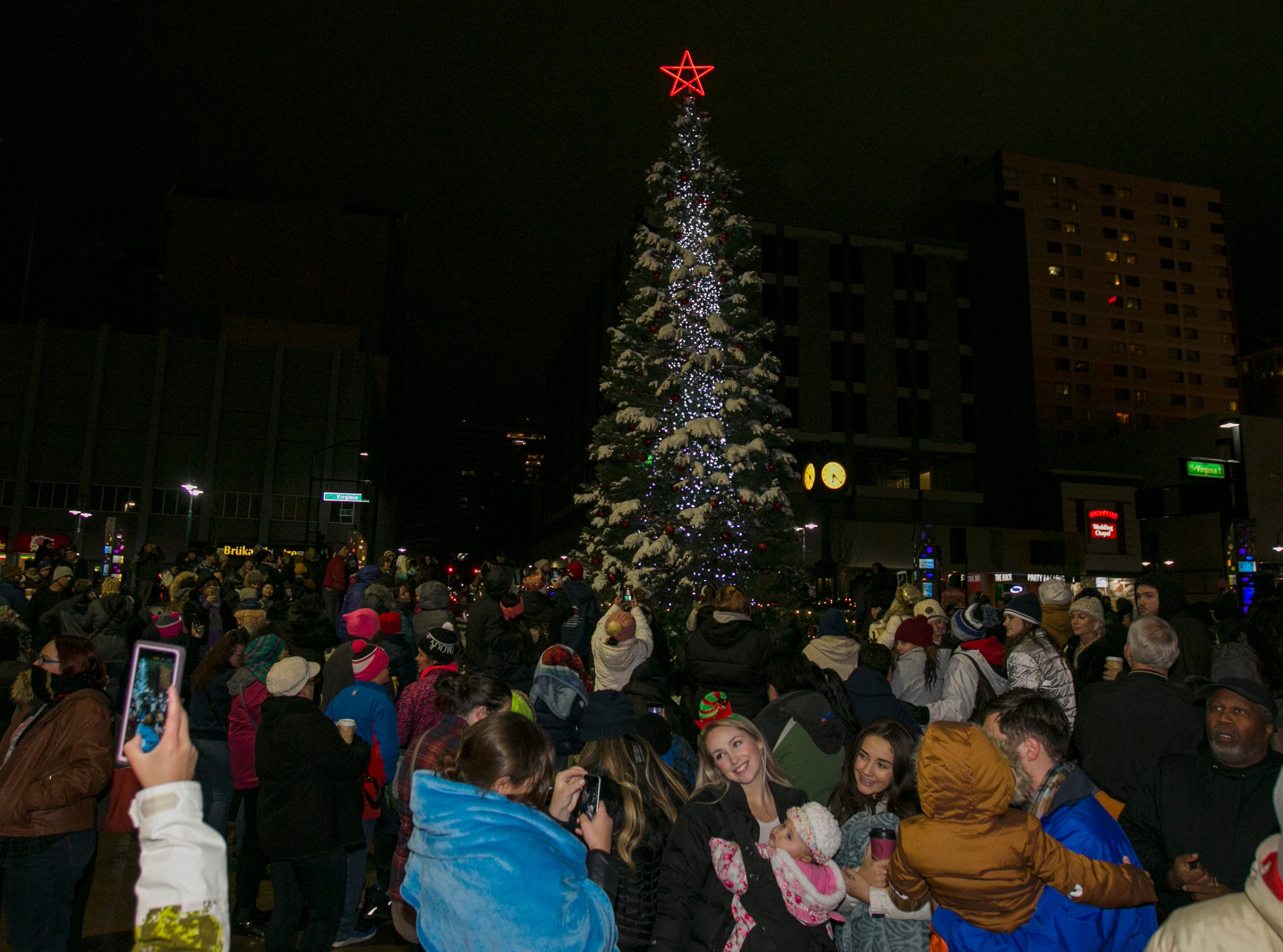 Photos from the City of Reno Tree Lighting at City Plaza in downtown Reno. After the tree lighting ceremony people walked to Greater Nevada Field led by Reno Aces mascot Archie and Reno 1868 FC mascot Truckee for a free community skate on Wednesday, December 5, 2018.