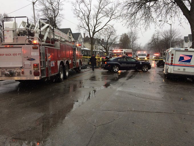Emergency responders gather on the scene of a serious traffic accident at Richmond Avenue and NW Third Street Thursday afternoon, Dec. 6, 2018.