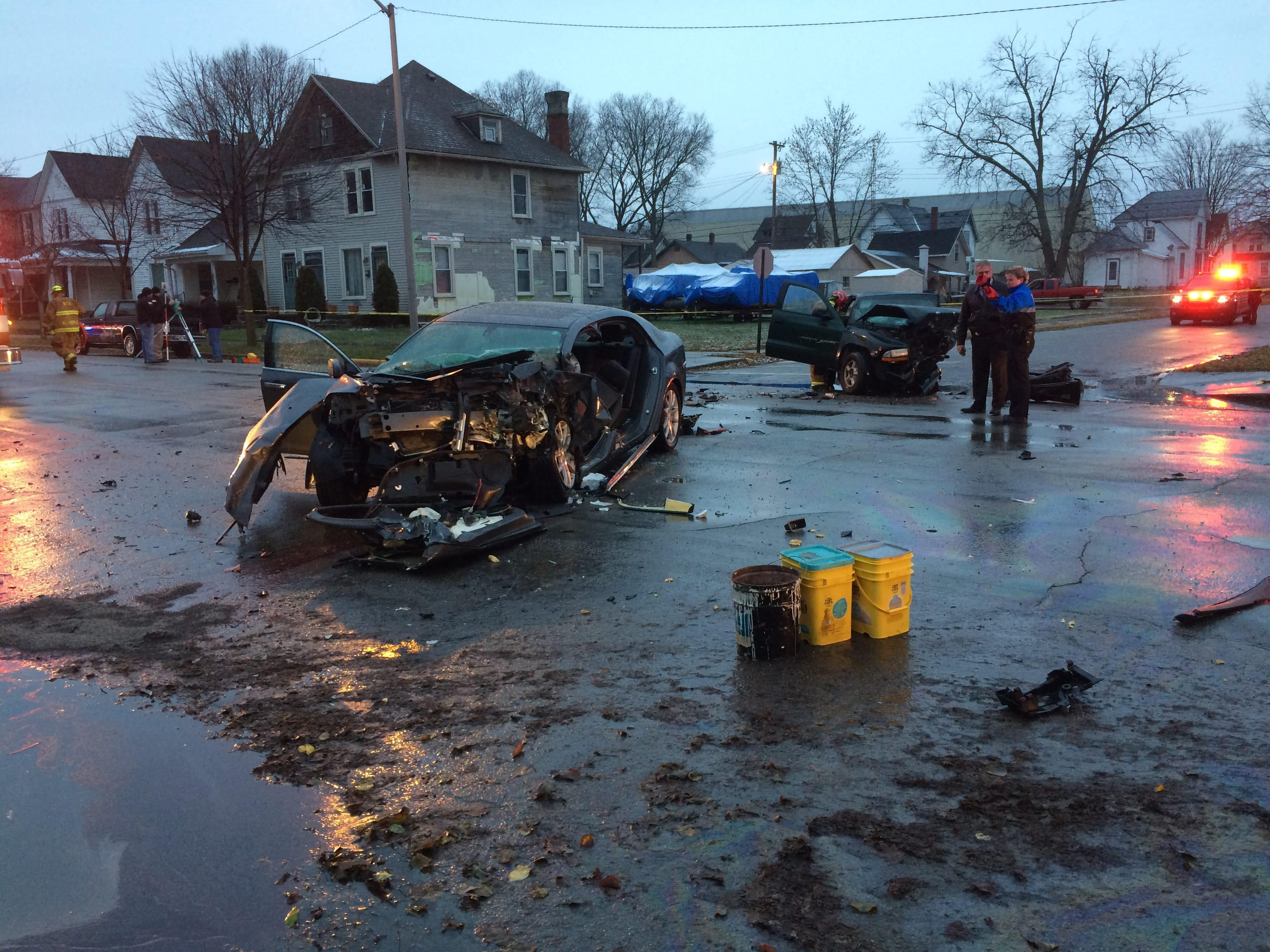 A Chevrolet Malibu and Dodge Dakota pickup truck crashed head-on Thursday afternoon on Richmond Avenue.