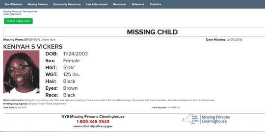 Brighton Police are seeking missing teen Keniyah S. Vickers