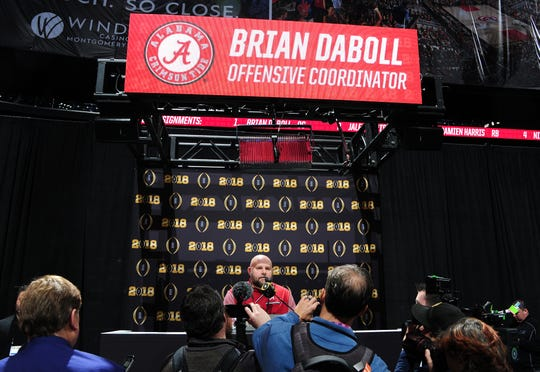 """Bills offensive coordinator Brian Daboll meeting the media at the College Football Playoff championship last year with Alabama. The Crimson Tide are 13-0 and face Oklahoma (12-1) in the Orange Bowl/national semifinal on Dec. 29. """"They have some good players, but a lot of schools have good players,'' Daboll said. """"They have talent, yes, but they also have work ethic, dedication and commitment and it all starts with Coach (Nick) Saban.''"""
