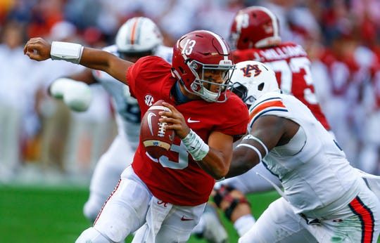 Alabama quarterback Tua Tagovailoa threw for 3,353 yards and 37 touchdowns with barely playing in the fourth quarter of games, mostly blowouts. In going 13-0, Alabama's average winning score was 48-15.