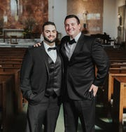 John Nucci, left, with childhood friend Joe DiMartino before DiMartino's wedding. DiMartino was one of the friends who stuck by Nucci and visited him in jail, where he saw the spark of life return to his friend.