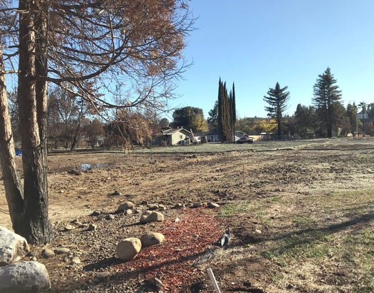 A cleared, empty lot sits where the home of Matt Schjoth and Kimberly Stevens used to be. They had an elaborate Christmas display at their home for the past decade until the Carr Fire destroyed the residence July 26. Faded ornaments and melted strings of lights still hang from the home's surviving pine tree from last Christmas.