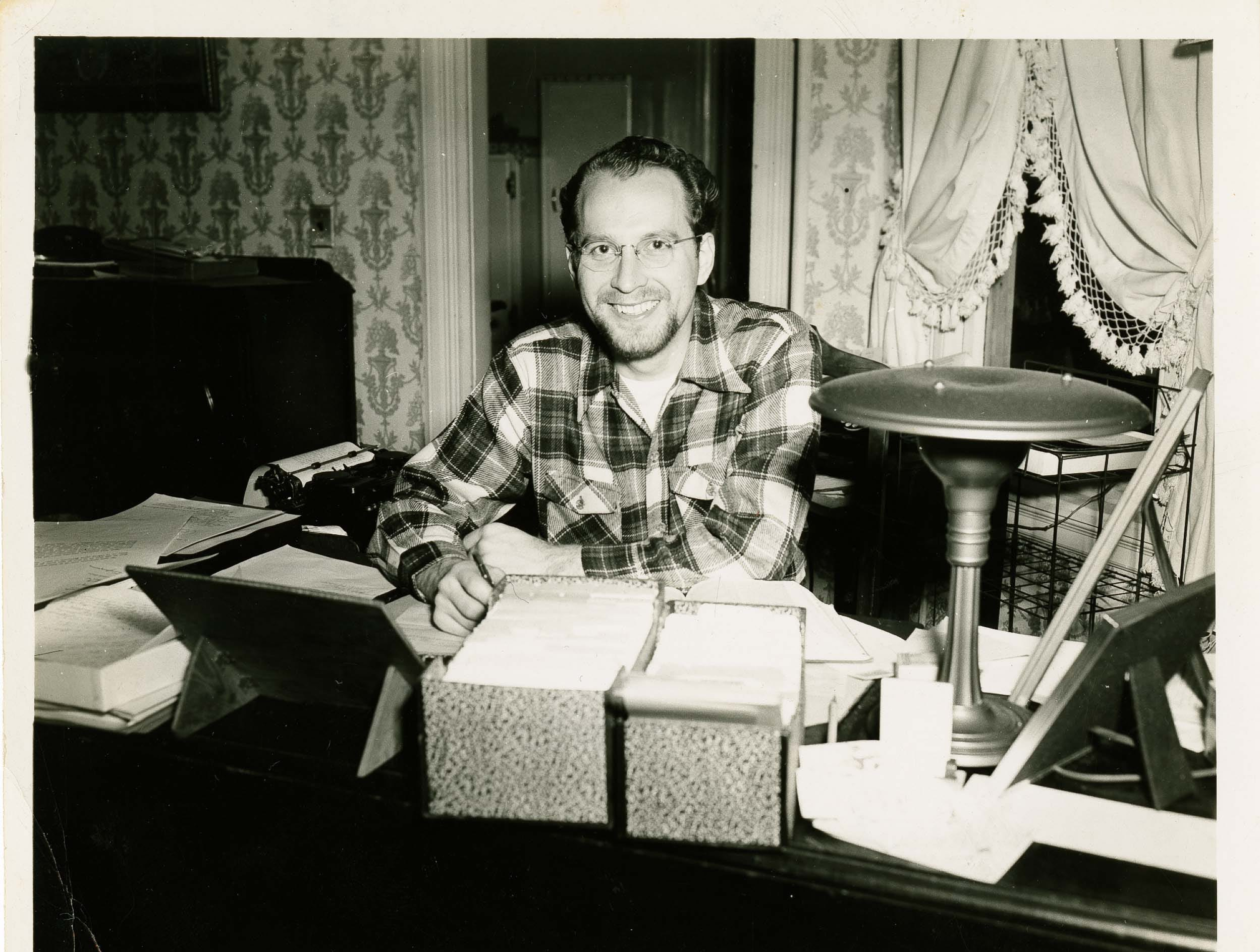 A young Glenn Olds in a photograph dated 1948, around the time he received his doctorate from Yale University. Olds graduated from Willamette University in 1941 and went on to earn a bachelor of divinity degree from Garrett Theological Seminary and a master of arts degree in philosophy from Northwestern University.