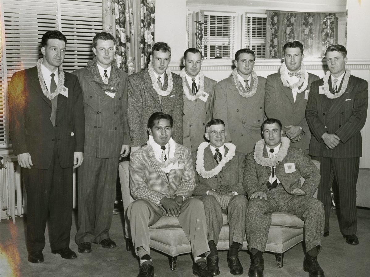 State Sen. Douglas McKay, front row center, with members of the 1941 Willamette University football team in Oahu.