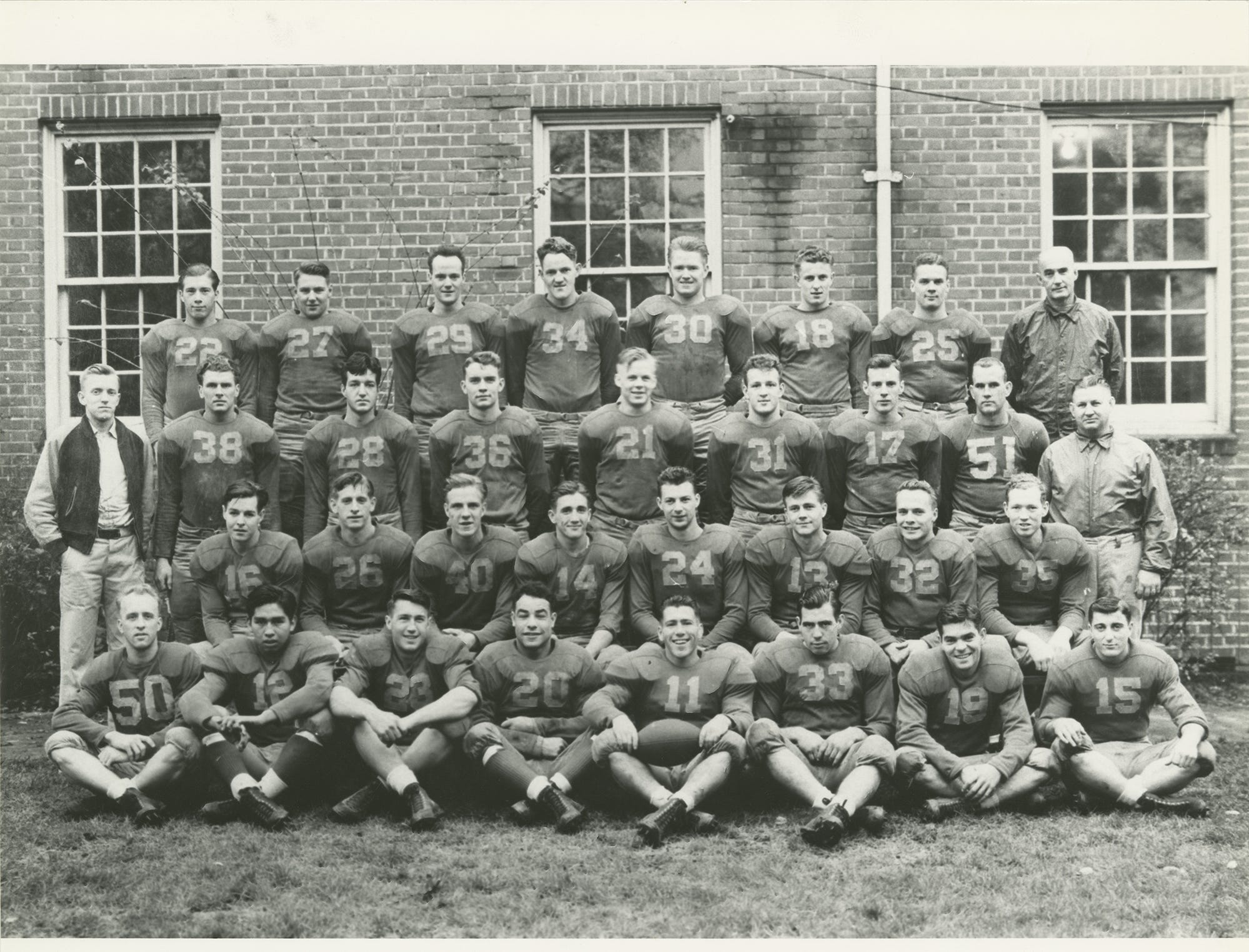 "The 1941 Willamette University football team photo from the yearbook. From left to right, front row: Irv Miller, Cecil Connors, Pat White, Tony Fraiola, Al Walden, Jim Fitzgerald, Buddy Reynolds and Chuck Furno. Second row: Earl Hampton, Bill Reder, Martin Barstad, Ted Ogdahl, Jim Burgess, Gene Stewart, Glenn Nordquist and Wally Olson. Third row: Team manager Dick Kern, Paul Cookingham, George Constable, David Kelly, Ken Jacobson, Allan Barrett, Marshall Barbour, Clarence Walden, assistant coach Howard Maple. Back row: David Kurtz, Robert Bennett, Gordon Moore, Andy Rogers, Neil Morley, Marv Goodman, Carrel Deiner, and head coach Roy S. ""Spec"" Keene. (Note: Cookingham, Kurtz, Clarence Walden and coach Maple did not travel with the team to Hawaii.)"