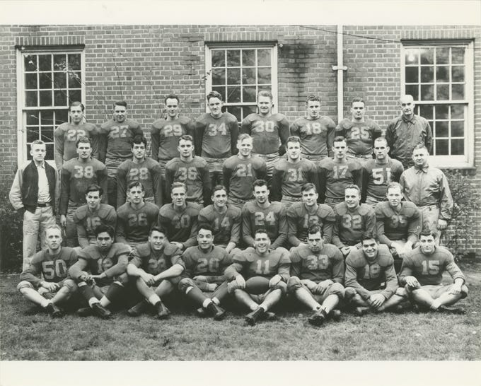 """The 1941 Willamette University football team photo from the yearbook. From left to right, front row: Irv Miller, Cecil Connors, Pat White, Tony Fraiola, Al Walden, Jim Fitzgerald, Buddy Reynolds and Chuck Furno. Second row: Earl Hampton, Bill Reder, Martin Barstad, Ted Ogdahl, Jim Burgess, Gene Stewart, Glenn Nordquist and Wally Olson. Third row: Team manager Dick Kern, Paul Cookingham, George Constable, David Kelly, Ken Jacobson, Allan Barrett, Marshall Barbour, Clarence Walden, assistant coach Howard Maple. Back row: David Kurtz, Robert Bennett, Gordon Moore, Andy Rogers, Neil Morley, Marv Goodman, Carrel Deiner, and head coach Roy S. """"Spec"""" Keene. (Note: Cookingham, Kurtz, Clarence Walden and coach Maple did not travel with the team to Hawaii.)"""