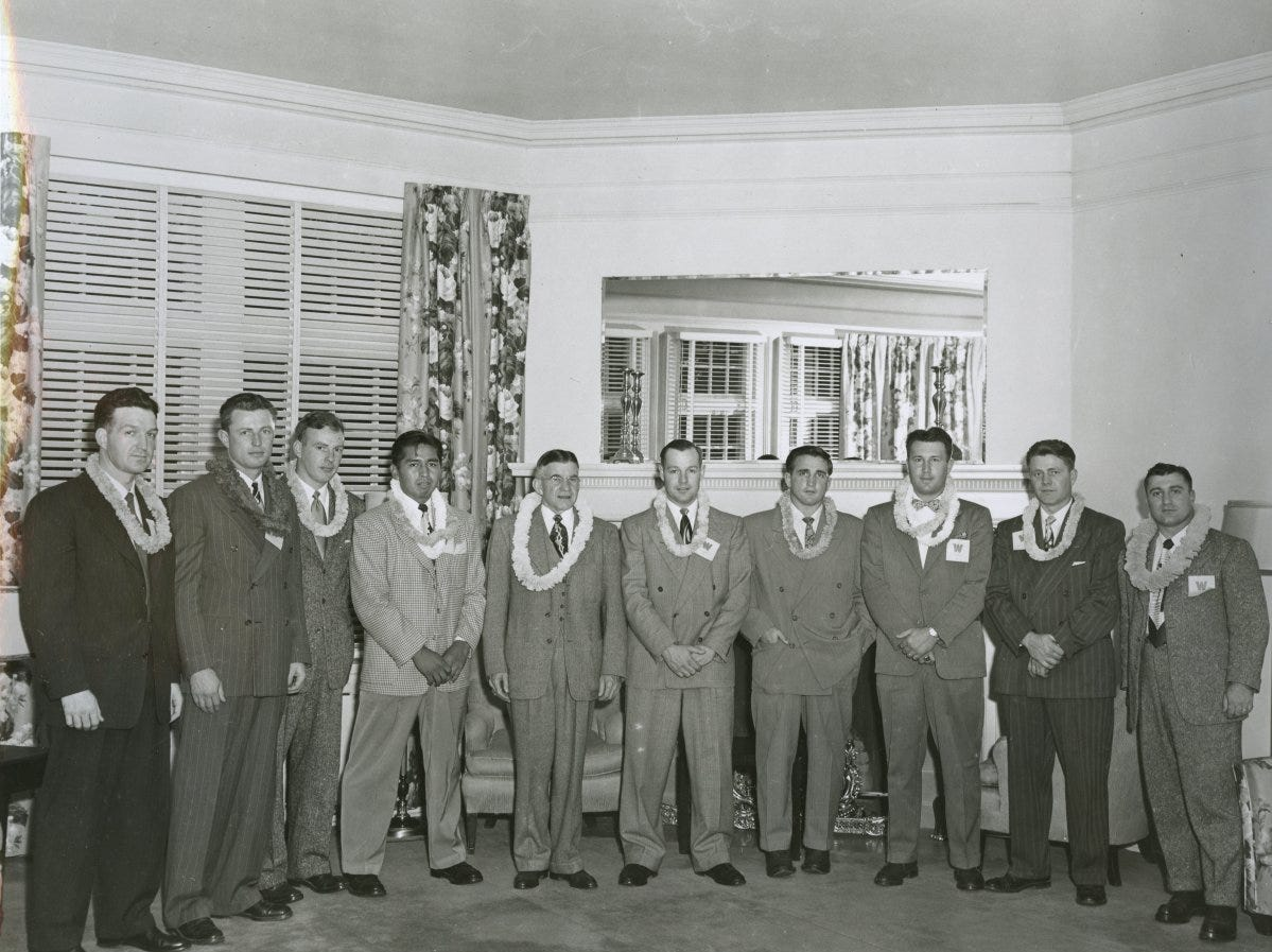 State Sen. Douglas McKay, fifth from the left, with members of the 1941 Willamette University football team in Oahu.