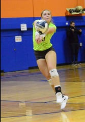Water Valley junior Kirstyn Greebon maneuvers for a dig during the 2018 season.